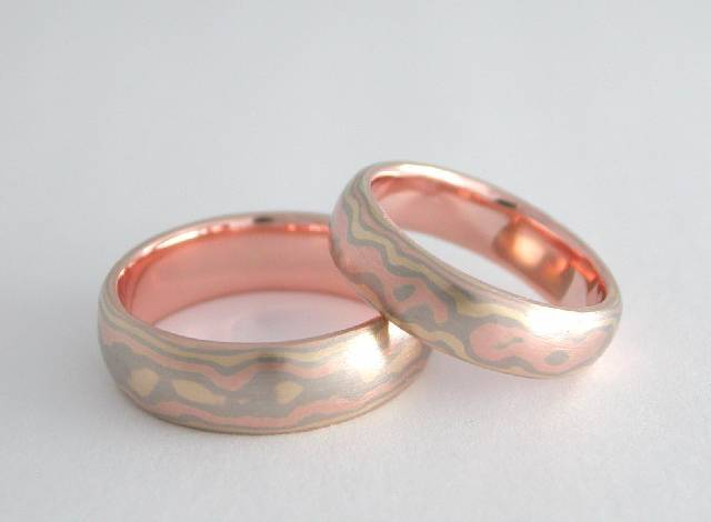 eight layer mokume wedding rings